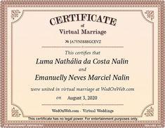 Marriage Certificate - Virtual weddings for fun by WEDonWEB. Bb, Holi, Weeding, Billie Eilish, Itachi, Naruto Uzumaki, Anime Naruto, Anime Manga, Random
