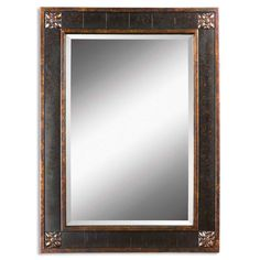 Hang this lovely rectangular vanity mirror on any wall in need of sprucing up. The mirror is beautifully accented by mottled-black and distressed-chestnut shades and gold leaf detailing, making it not only a useful piece but also part of your decor.