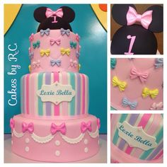 Minnie Mouse Bowtique inspired cake for Lexie Bella's 1st birthday celebration…