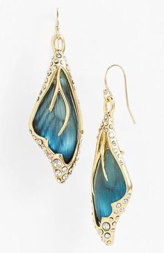 Blue lucite, crystal, and gold wing earrings (Alexis Bittar)