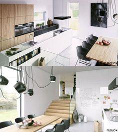 cuisine avec îlot central et salle design scandinave avec lampes noires