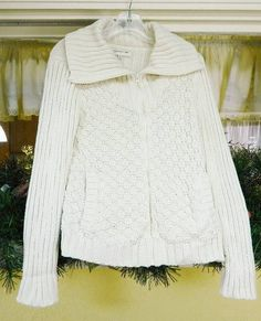 Jones New York Sport Zip Front Chunky Sweater Small Ivory #JonesNewYorkSport #FullZip