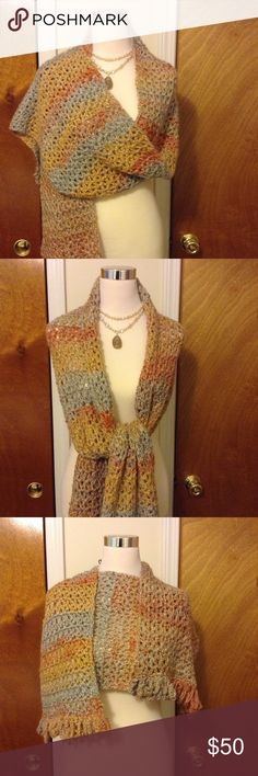 Hand Crochet Shawl Wrap this, rock this, love this original hand crocheted shawl in gorgeous hues of gray, pumpkin, beige & gold! When my jewelry making tools are not in my hand twisting and bending beads on wire, my crochet needle is propped in hand twisting and turning through rows of cozy yarn as I create fashion accessories with sophistication in mind. Breeze through my listing of Culture Crochet accessories. The special prices are amazing! New ideas flowing through my mind. Have to let…