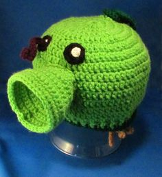 Plants vs. Zombies Inspired Pea Shooter Crochet Hat, custom all sizes