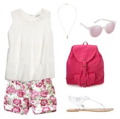 """""""How to style floral shorts"""" by momockapai ❤ liked on Polyvore featuring moda, Madewell, Marc by Marc Jacobs, Forever 21 y ALDO"""