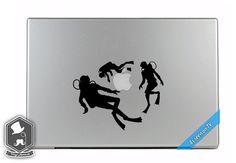 MacBook TV Commercial Scuba Divers Diving around Apple Overlay Vinyl Decal Sticker Skin Mac Book Air Pro Laptop Notebook People Love