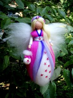 TOOTH FAIRY needle felted wool doll fee angel faeries soft sculpture WALDORF inspired. $26,00, via Etsy.