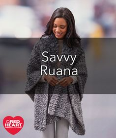 Savvy Ruana Free Crochet Pattern in Red Heart Yarns -- Whether going on a day trip, extended vacation or a quick trip to the market, you'll love having this ruana for easy stylish warmth. The cozy Fur collar keeps the chill away from your neck while the wide width and comfortable length give it ideal wearability. It's the perfect gift that needs no exact fit.