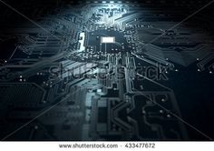 A 3D render of a macro view of a circuit board on a dark isolated studio background