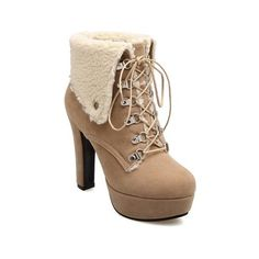 Suede Platform Tie Up Short Boots ($33) ❤ liked on Polyvore featuring shoes, boots, ankle booties, platform bootie, suede ankle booties, suede booties, short suede boots and platform booties