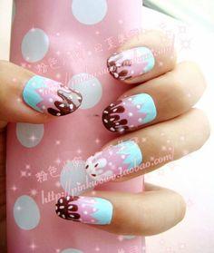 #icecreamnails #pink #blue #brown #white #nailpolish  #nails #manicure #fingernails #fingernailpolish #fingernaildesigns #blue Acrylic Nail Designs, Cool Nail Designs, Fingernail Designs, Beautiful Nail Designs, Exotic Nails, Get Nails, Hair And Nails, Creative Nails, Super Cute Nails