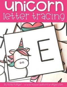 FREE Unicorn Letter Tracing Cards - These adorable unicorn letter tracing cards add some magical fun to letter formation practice! Place a mixture of white sand and glitter in a container, provide these cards, and let the letter practice begin. Uppercase and lowercase letters are included in this freebie. Use it in your preschool, preK, junior kindergarten, kindy, or half-day K classroom or homeschool. Also great for tot school.