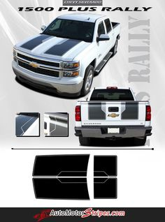Vehicle Specific Style Chevy Silverado Truck RALLY PLUS Hood Racing and Tailgate Striping Vinyl Graphic Stripe Decals Year Fitment 2014 2015 Contents Hood and T