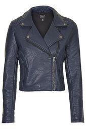 Textured Faux Leather Biker Jacket Topshop