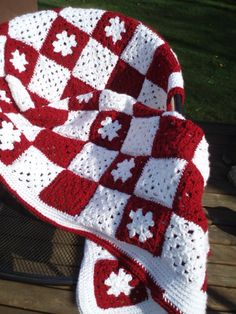 3' by 5' Brick Red and Snow White Granny Square Afghan - Each square has four rounds - Crochet