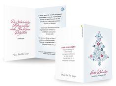Geschäftliche Weihnachtskarten Tannenstern Kleine Eiskristalle bilden zusammen das Weihnachtssymbol überhaupt: den Tannenbaum. Dabei bleibt die Karte modern und schlicht und kann in klassischen oder knallige-modernen Farben gewählt werde