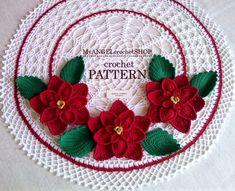 Doily with Poinsettia Crochet Pattern Christmas flowers | Etsy Poinsettia Flower, Christmas Flowers, Christmas Decor, Natural Christmas, Doily Patterns, Crochet Patterns, Flower Patterns, Crochet Doilies, Crochet Flowers