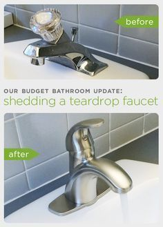 Before and After: Our Budget Bathroom Update: How to Upgrade your Bathroom Sink . - Before and After: Our Budget Bathroom Update: How to Upgrade your Bathroom Sink by Replacing an Old - Bathroom Sink Decor, Bathroom Sink Faucets, Budget Bathroom, Bathroom Renovations, Bathroom Furniture, Small Bathroom, Bathroom Ideas, Replace Bathroom Faucet, Relaxing Bathroom