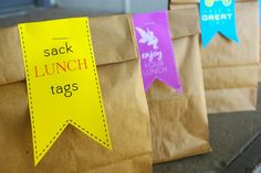 Back to School lunch bag tags!  sissyprint: Personalized Sack Lunch Tags