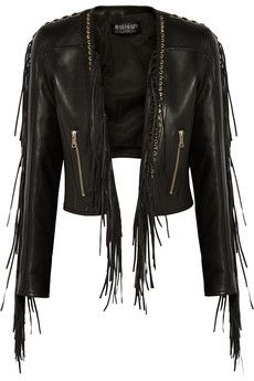 Balmain Fringed leather biker jacket & black pencil skirt & Gianvito Rossi shoes