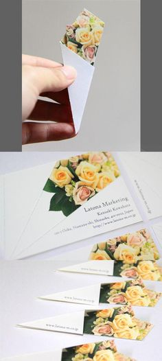 If you're lucky enough to receive one of these sweetly designed creative business cards, then after a little simple origami you'll have yourself a bouquet of flowers! Setting the recipient a small task and magically making the card turn into something new Graphisches Design, Design Cars, Design Layouts, Design Ideas, Brochure Design, Floral Design, Name Card Design, Bussiness Card, Origami Design