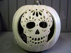 Pumpkin Stencil Sugar Skull Carving Crafts by. Halloween Pumpkin Stencils, Pumpkin Art, Halloween Skull, Halloween Pumpkins, Halloween Crafts, Halloween Decorations, Sugar Skull Pumpkin Stencil, Ghost Pumpkin, Pumpkin Painting