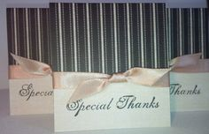 Set of 12 Cream and Black Mini Thank You Note Cards by NyraCards