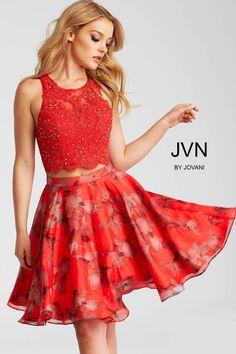Jovani JVN58250 Red Floral Two Piece Dress