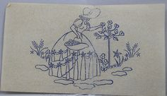 Crinoline Lady - Vintage Iron-on Embroidery Transfer by TheVintageSewingB on Etsy