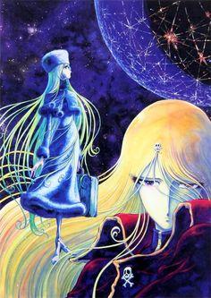 Ilustración del artista y reconocido mangaka Leiji_Matsumoto, protagonizada por Maetel, personaje de su obra Galaxy Express 999. Matsumoto plasma un estilo muy peculiar en todas sus obras, en las que suelen aparecer personajes femeninos extremadamente delgados, frágiles, pero de enorme determinación.