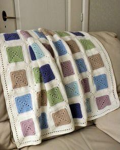 Ravelry: Baby-blanket pattern by Jeanet Jaffari Crochet Blocks, Afghan Crochet Patterns, Crochet Squares, Crochet Granny, Baby Blanket Crochet, Crochet Stitches, Crochet Baby, Knit Crochet, Free Crochet