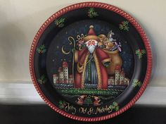 Christmas 2017, Christmas Art, Christmas Decorations, Father Christmas, Christmas Stuff, Christmas Ideas, Tole Painting, Painting On Wood, Painted Plates