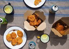 Potato scallops with chicken salt