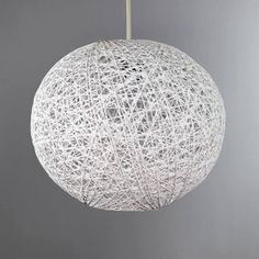 Available in a choice of colours and sizes, this woven ball pendant light shade is crafted from natural abaca fibres. Bedroom Light Shades, White Light Shades, Flush Lighting, Home Lighting, Pendant Lighting, Ceiling Pendant, Ceiling Lights, Neutral Bedrooms, Rental Decorating