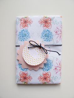 Wrapping paper and hangtag with flowers