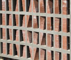 Image 25 of 25 from gallery of Kahrizak Residential Project / CAAT Studio. Photograph by CAAT Studio Architecture Design, Contemporary Architecture, Glass Brick, Brick And Stone, Facade Pattern, Brick Works, Brick Texture, Hospital Design, Brick Facade
