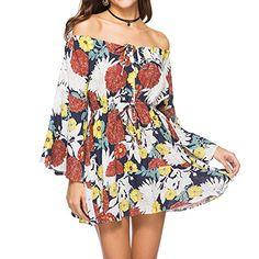 b666afe8570 laamei Mini Robe Soirée Chic Sexy Épaules Nue Imprimé Floral Robe de  Cocktail Manches Longues Robe