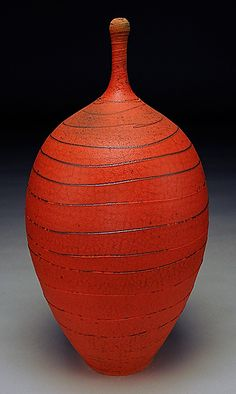 Spiral Red Bottle by Nicholas Bernard: Ceramic Vessel available at www.artfulhome.com