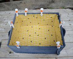DIY denim storage box lined