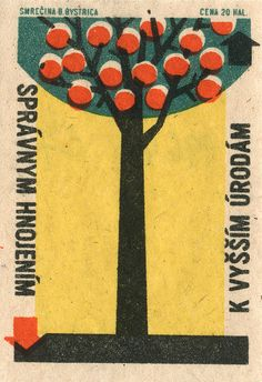 More trees, this one with fruit. From another Czech matchbox label.