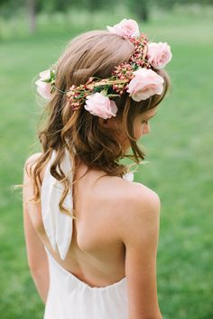 Beautiful flower crown.  Love My Neck Protector will protect young girls while using curling irons & straighteners.   www.lovemyneckprotector.com