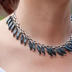 Vintage Claudette Grey Thermoset Lucite Choker and Earrings on Etsy, $59.00