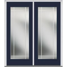Milliken Millwork 74 in. x 81.75 in. Classic Clear Glass PIM Full Lite Painted Majestic Steel Exterior Double Door, Naval