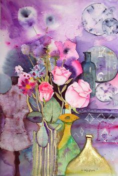 Original watercolor painting on paper 300 gr/m2 watercolor paint, aqua bronze, fiber paste.