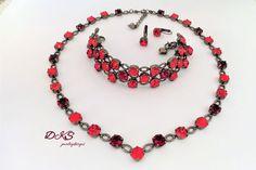Temptress, Swarovski Necklace, Red, 8MM, Crystal, Decorated Setting, Hematite, Adjustable, Bridal, DKSJewelrydesigns, FREE SHIPPING