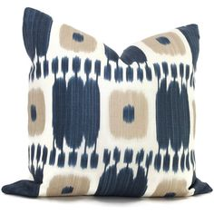 Add a Pop O Blue to your decor with this striking blue and tan ikat Pillow Cover by Schumacher. It is a classic look that works well in a contemporary,