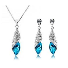 Silver Plated Crystal Tear Water Drop Jewelry Set. FREE + SHIPPING.