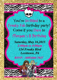 Personalized Monster High Invitation on Etsy, $10.00
