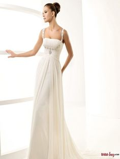 Elegant Empire Square Straps Beaded Chiffon Infomal/Casual Wedding Dresses