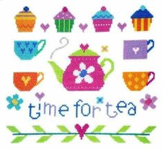 "Time for Tea (CSKTT111) New sampler style cross stitch design by The Stitching Shed. Features a teapot, teacups and cupcakes. Contents: 14 count white aida fabric, pre-sorted Anchor threads, needle, black and white chart, needle and full instructions. Size: 8.5"" x 7.5"". RRP £17.50 *Usually dispatched within 5 working days*"